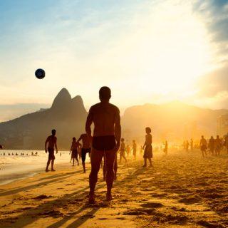 Beach football in Rio de Janeiro, Brazil