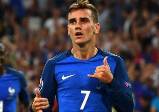 Antoine Griezmann celebrates scoring for France.