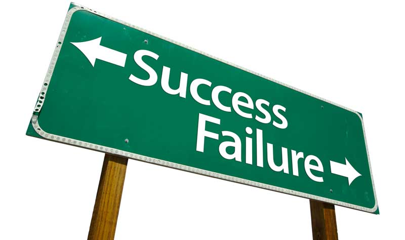 "A sign which points to ""Success"" and ""Failure"" in opposite directions."