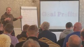 Kevin Laverick presents to Goal Profits members at our free football trading workshop