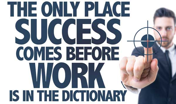 The only place success comes before work is in the dictionary quote